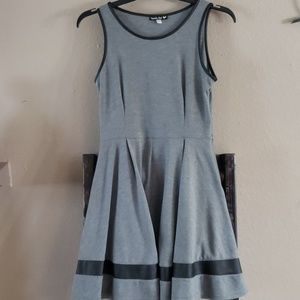 Large gray knit dress with faux leather details